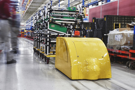 Mobile eKanban rack with automated guided vehicles (AGV)